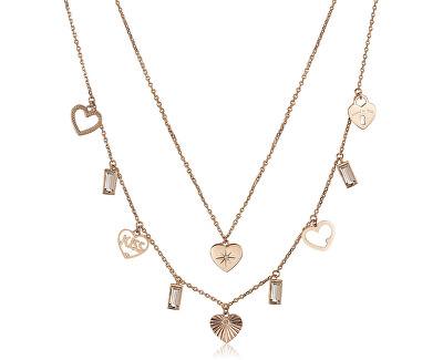 Růžově pozlacený ocelový náhrdelník s přívěsky Chant BAH17