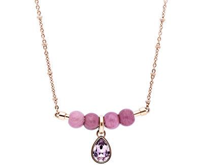 Růžově zlacený ocelový náhrdelník s krystalem Trés Jolie BTJMS694