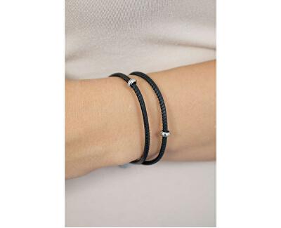 Černý kožený náramek Bracciale BBR17