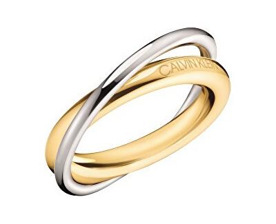 Bicolor ocelový prsten Double KJ8XJR2001