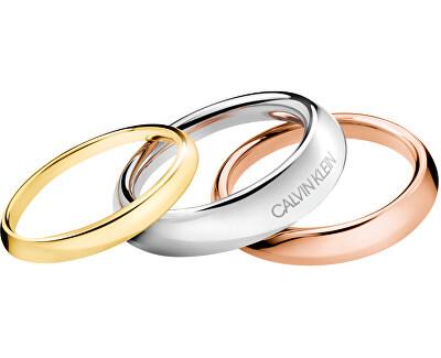 Luxusní sada tří prstenů Groovy KJ8QDR30010