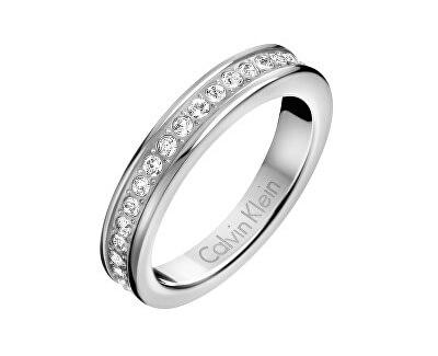 Oceľový prsteň s kryštálmi Hook KJ06MR0401