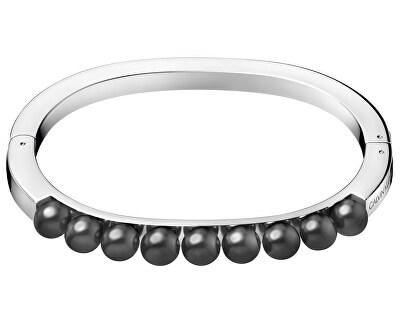 Pevný ocelový náramek s černými perličkami Circling KJAKMD04010