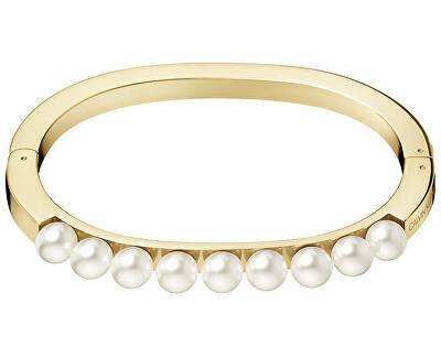 Pevný pozlacený náramek s perličkami Circling KJAKJD14010