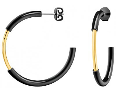 Calvin Klein Půlkruhové bicolor náušnice Disclose KJ5FBE200100