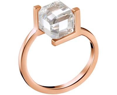 Růžově pozlacený prsten s krychličkou KJ3HPR1401
