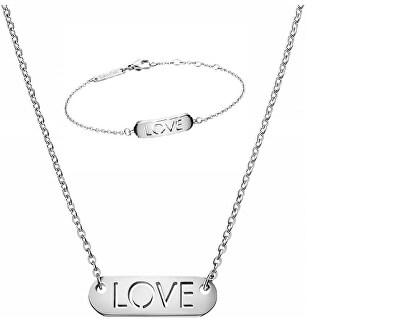 Set de bijuterii din oțel mesaj Love