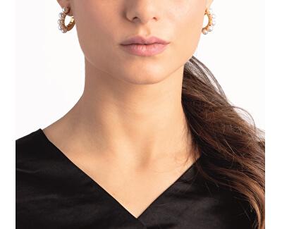 Ocelové náušnice s černými perličkami Circling KJAKME040100