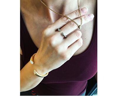 Pevný pozlacený náramek s krystaly Brilliant KJ8YJF1401