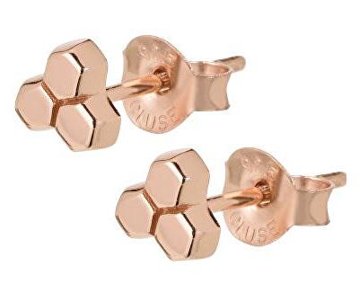 Hexagonové růžově pozlacené náušnice CLJ50017