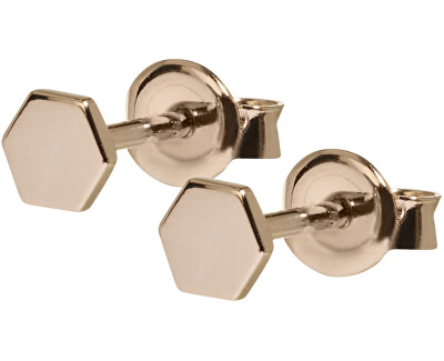 Hexagonové růžově pozlacené náušnice ze stříbra CLJ50006