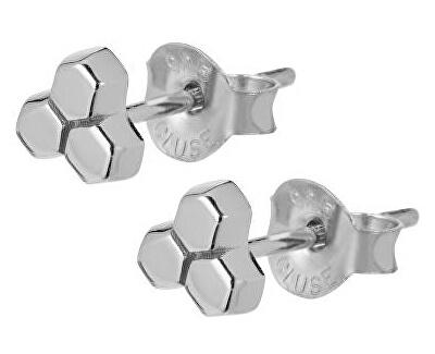 Hexagonové stříbrné náušnice CLJ52017