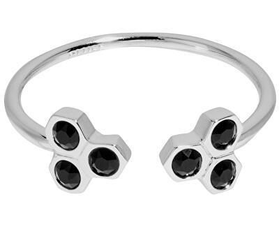 Prsten s černými krystaly CLJ42008