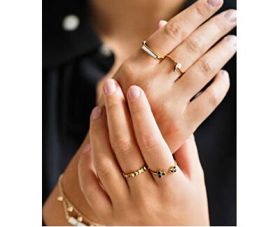 Pozlacený prsten s černými krystaly CLJ41008