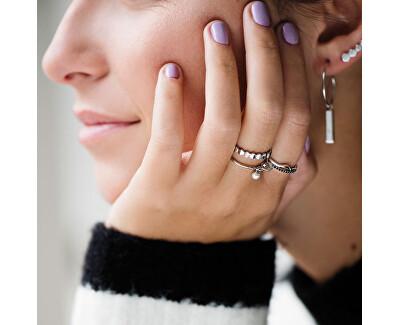 Stříbrný prsten s hexagonem a perličkou CLJ42007