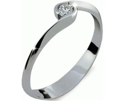 Danfil Krásny zásnubný prsteň z bieleho zlata DF1914b