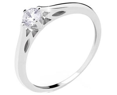 Danfil Luxusný zásnubný prsteň z bieleho zlata DF2411b