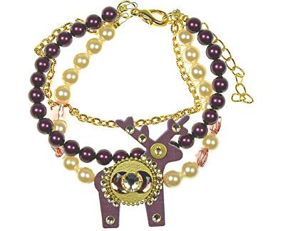Deers Brățară cu perle cu un cerb violet Teodora