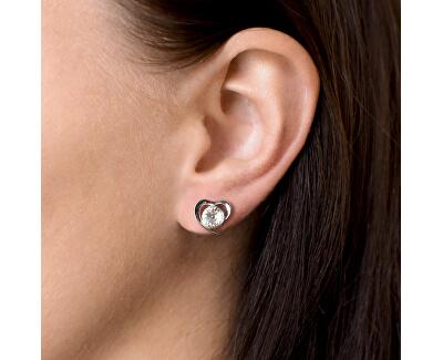 Stříbrné náušnice s krystaly Swarovski bílé srdce 31259.1