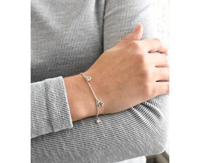Stříbrný náramek se Swarovski krystaly bílé srdce 33110.1