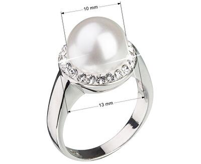 Stříbrný perlový prsten s krystaly Swarovski London Style 35021.1
