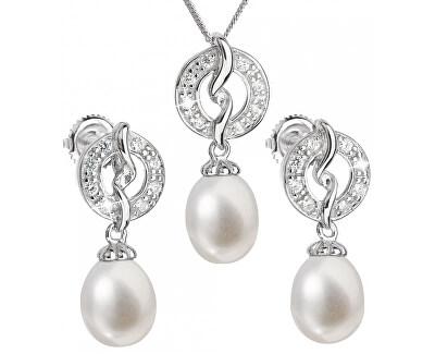 Luxusní stříbrná souprava s pravými perlami Pavona 29014.1