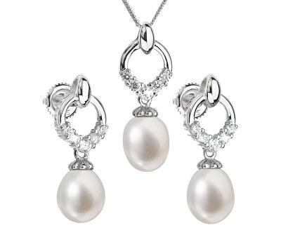 Evolution Group Luxusní stříbrná souprava s pravými perlami 29015.1