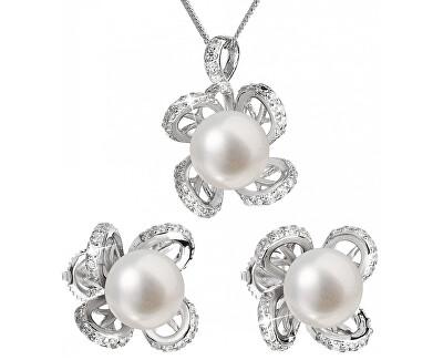 Luxusní stříbrná souprava s pravými perlami Pavona 29016.1