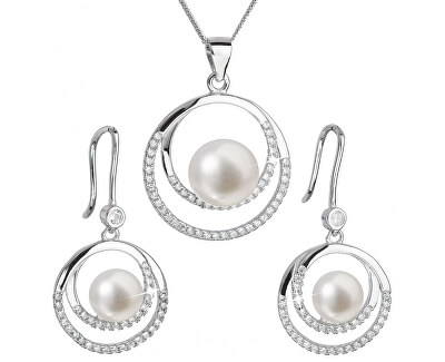 Evolution Group Luxusní stříbrná souprava s pravými perlami 29020.1