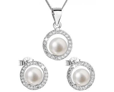 Luxusní stříbrná souprava s pravými perlami Pavona 29023.1 (náušnice, řetízek, přívěsek)