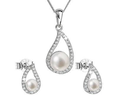 Luxusní stříbrná souprava s pravými perlami Pavona 29027.1