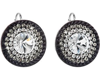 Překrásné stříbrné náušnice 31208.3 crystal+jet
