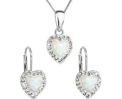 Srdiečková súprava šperkov 39161.1 & white s.opal (náušnice, retiazka, prívesok)