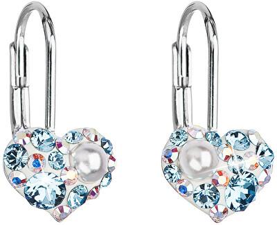 Srdíčkové náušnice 31125.9 aqua opal