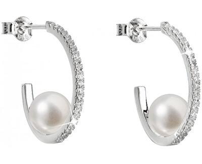 Stříbrné náušnice kruhy s pravými perlami Pavona 21019.1