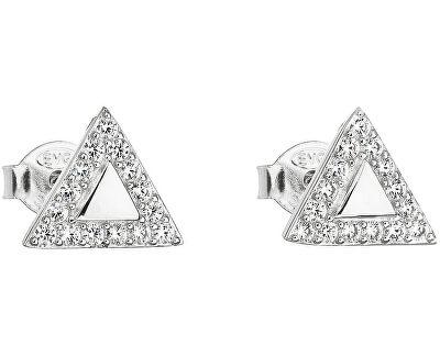 Stříbrné náušnice se zirkonem bílý trojúhelník 11042.1