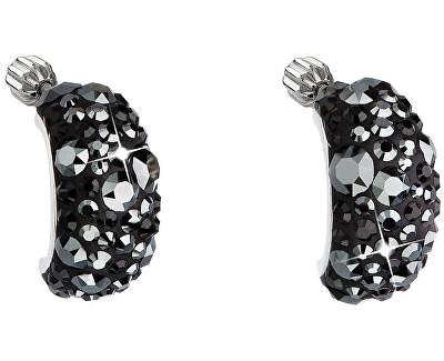 Cercei din argint semicerc cu cristale 31164.5 Hematite