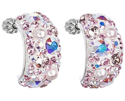 Stříbrné půlkruhové náušnice s krystaly 31164.9 lt.rose