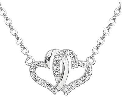 Stříbrný náhrdelník bílé srdce 12006.1