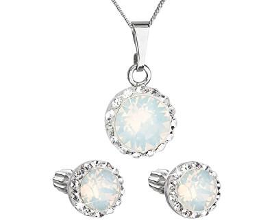 Trblietavá súprava šperkov 39352.7 white opal (náušnice, retiazka, prívesok)