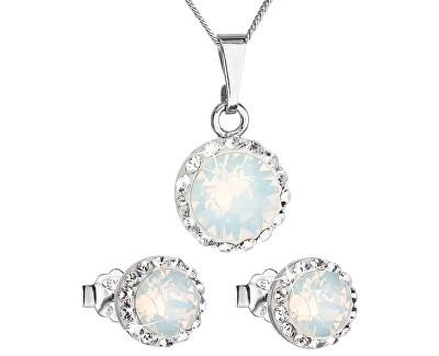 Třpytivá souprava šperků 39152.7 white opal (náušnice, řetízek, přívěsek)