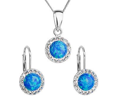 Třpytivá souprava šperků 39160.1 & blue s.opal (náušnice,řetízek,přívěsek) (náušnice, řetízek, přívěsek)