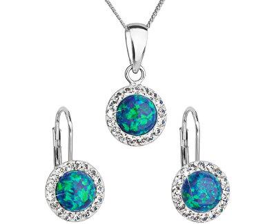 Třpytivá souprava šperků 39160.1 & green s.opal (náušnice, řetízek, přívěsek)