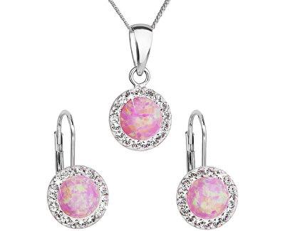 Třpytivá souprava šperků 39160.1 & light rose s.opal (náušnice, řetízek, přívěsek)