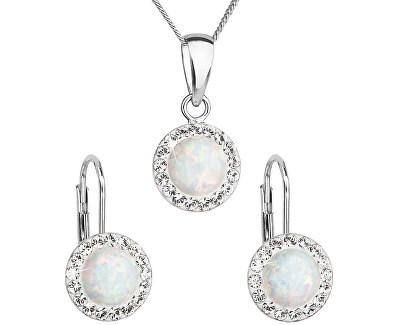 Třpytivá souprava šperků 39160.1 & white s.opal (náušnice, řetízek, přívěsek)