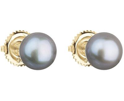 Zlaté náušnice pecky s pravými perlami Pavona 921004.3 - GREY