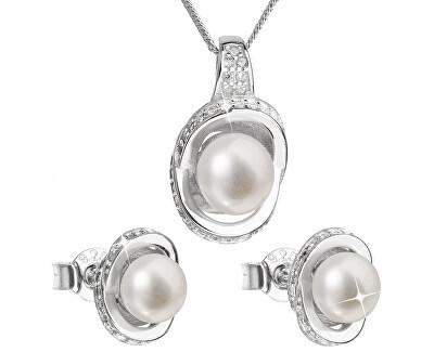 Luxusní stříbrná souprava s pravými perlami Pavona 29026.1