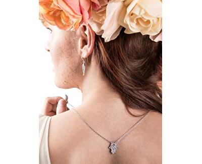Stříbrný náhrdelník Andělské křídlo a ruka Fatimy ERN-HAND-WING