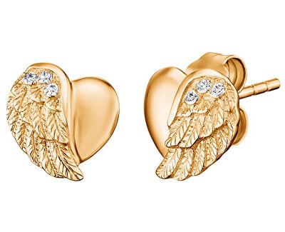 Pozlacené stříbrné náušnice Srdce s andělským křídlem a zirkony ERE-LILHW-STG