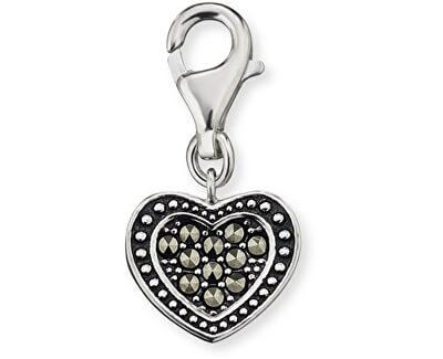 Stříbrný přívěsek na náramek Srdce s markazity ERC-HEART-MA